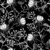 Black and white oriental Seamless pattern of soft and graceful b vector illustration