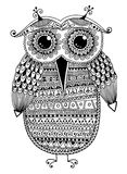 Black and white original ethnic owl ink drawing Stock Photos