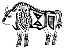 Black and white original ethnic tribal bison Royalty Free Stock Photo