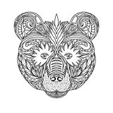 Black and white ornament faces wild beast of the forest bear, ornamental lace design. Page for adult coloring books. Hand drawn in Royalty Free Stock Image