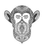 Black and white ornament faces wild beast of the forest monkeys, ornamental lace design. Page for adult coloring books. Hand drawn Stock Photos