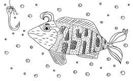 Black and white ornament fashion fish hook in the sea with bubbles design decorative lace. Page coloring books for adults. Hand dr Stock Images
