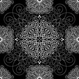 Black and white ornament, seamless pattern, vector background. White wicker weave on a black background, monochrome Stock Photography