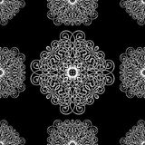 Black and white ornament, seamless pattern, vector background. White wicker weave on a black background, monochrome Stock Images