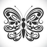 Black and white ornamental butterfly Royalty Free Stock Photo