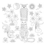 Black and white ornamental cat and owl for adult coloring vector illustration