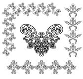 Black-white ornamental. Design elements with batterfly, EPS8 vector illustration