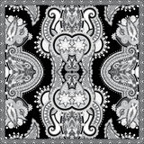 Black and white ornamental floral paisley bandanna Royalty Free Stock Images