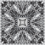 Black and white ornamental floral paisley bandanna. Traditional black and white ornamental floral paisley bandanna. Square ornament. You can use this pattern in Royalty Free Stock Photography