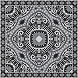 Black and white ornamental floral paisley bandanna Royalty Free Stock Photo