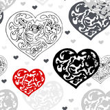 Black and white ornamental  hearts  pattern Stock Photo