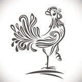 Black and white ornamental rooster. Royalty Free Stock Image