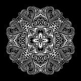 Black and white ornamental round lace Royalty Free Stock Image