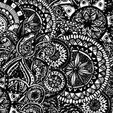 Black and white ornate hand drawn doodles with Stock Photography