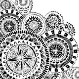 Black and white ornate hand drawn doodles with Royalty Free Stock Image