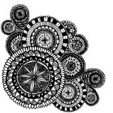 Black and white ornate hand drawn doodles with stock illustration