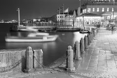 Black and white Ortakoy pier view at night Stock Photos