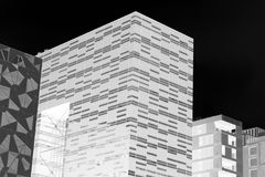 Black and white Oslo downtown buildings background Stock Photography