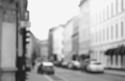 Black and white Oslo streets bokeh background Stock Photography
