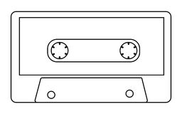 Black and white with outline, antique, old, vintage, retro, hipster, musical audio cassette from the 80`s, 90`s on a white backg. Round. Vector illustration Stock Photo