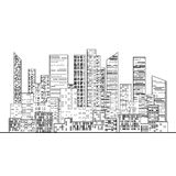 Black and White outline the city with windows Royalty Free Stock Photo