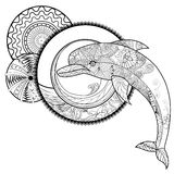 Black and white outline drawing of a Dolphin with an abstract pa Royalty Free Stock Images