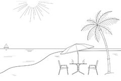 Black and white outline drawing of a striped beach umbrella and the two wooden chairs on a white background, vector illustration Stock Photos