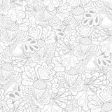 Black and white outline oak elements seamless pattern Royalty Free Stock Photography
