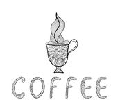 Black and white outline vector doodle. Coffee cup Stock Photography