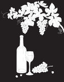 Black and white outlines branch of grape, glass and bottle of wi Royalty Free Stock Image
