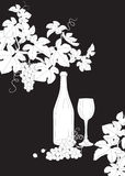 Black and white outlines branches of grape, glass and bottle of Stock Image