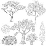 Black and white outlines trees and bushes. Royalty Free Stock Photo