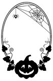 Black and white oval frame with Halloween pumpkin silhouette Royalty Free Stock Images