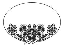 Black and white oval label with flowers. Copy space. Raster clip art Stock Photo
