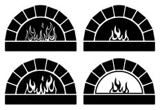 Vector black and white ovens with  fire. Vector black and white clipart set of ovens with burning fire Stock Image