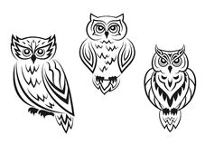 Black and white owl bird tatoos. In silhouetted style isolated on white background Stock Photo