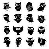 Black and white owl silhouettes set. Owl bird animal, black white owlet illustration Royalty Free Stock Photos