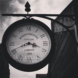 Black and White Paddington Clock. Paddington Train Station Garden Clock in Black and White Stock Image