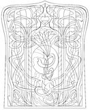 Black and white page for coloring. Drawing of beautiful window with stained glass in Art Nouveau style. Royalty Free Stock Photography