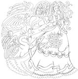 Black and white page for coloring. Drawing of fairy holding fan and fairyland swan. Worksheet for children and adults. Vector cartoon image. Scale to any size Stock Photography