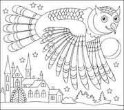 Black and white page for coloring. Drawing of owl flying at night. Worksheet for children and adults. Stock Image
