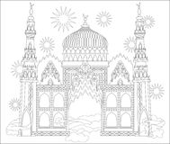 Black and white page for coloring. Fantastic Arab castle from a fairy tale. Worksheet for children and adults. Stock Photo