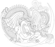 Black and white page for coloring. Fantasy drawing of Celtic dragon. Worksheet for children and adults. Stock Images