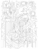 Black and white page for coloring. Fantasy drawing of firebird and fairytale medieval kingdom. Worksheet for children and adults. Vector cartoon image. Scale to Royalty Free Stock Images