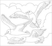 Black and white page for coloring. Fantasy drawing of flying seagulls. Stock Photos