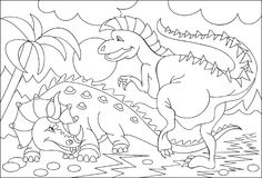 Black and white page for coloring. Fantasy drawing of two funny dinosaurs. Worksheet for children and adults. Stock Image