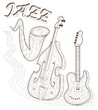 Black and white page for coloring. Set of musical instruments. Poster for print. Advertising of Jazz concert. Stock Photography