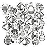 Black and white page with fish and flowers. Vector illustration for coloring and meditation Stock Image