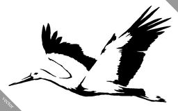 Black and white paint draw crane bird vector illustration. Black and white linear paint draw crane bird vector illustration vector illustration