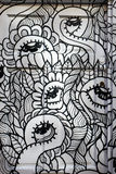 Black and white painted door, graffiti design, London UK Stock Images